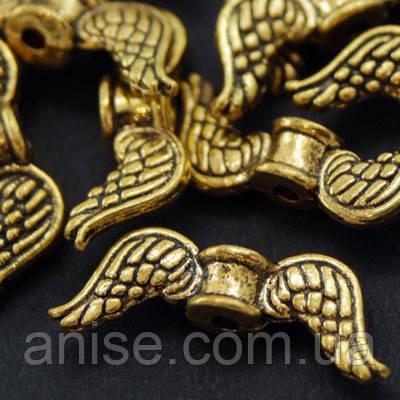 Намистини Крила, Метал, Колір: Античне Золото, Розмір: 18х7х4мм, Отв-нення 1мм, (УТ000007982)