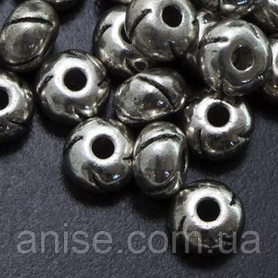 Металеві Намистини, Рондель, Колір: Античне Срібло, Розмір: 5.5х3.5мм, Отв-нення 1.5 мм, (УТ0002576)