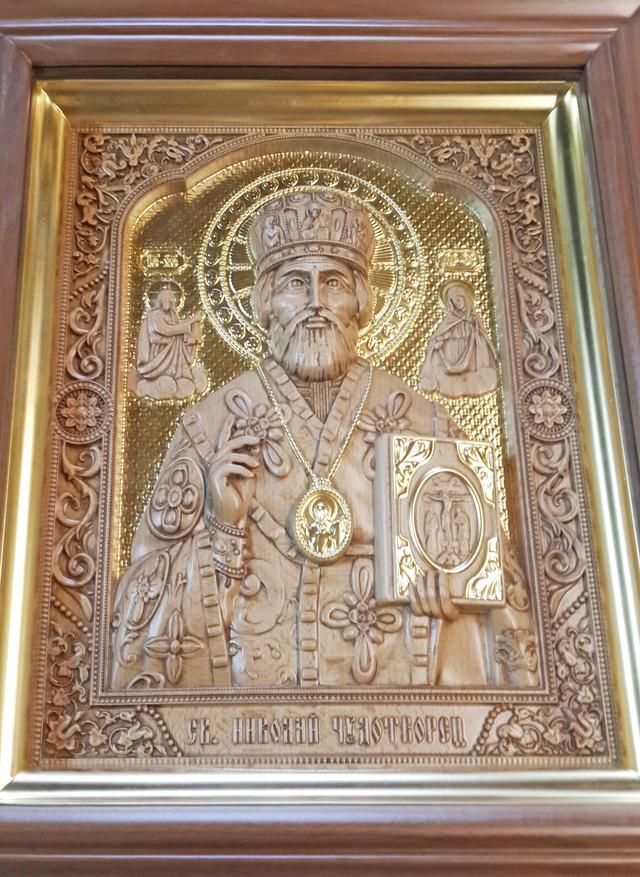 икона резная деревянная николая чудотворца угодника