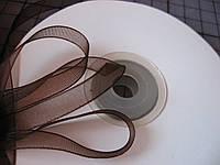 Лента органза, 6 мм, темно-коричневая
