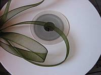 Лента органза, 6 мм, темно-зеленая