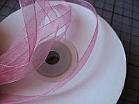 Лента органза, 6 мм, розовая