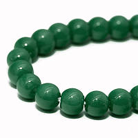 Бусины Стекло Окрашенные экокраской, на шнуре из смесового хлопка, Круглые, Цвет: Зеленый, Диаметр: 4мм, Отверстие 1мм, около 100шт/нить, (УТ0024635)