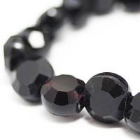 Бусины стеклянные круглые плоские, прозрачные, граненые, Цвет: Черный, Размер: 6х4мм, Отв-тие: 1мм, около 72шт/нить, (УТ000007638)