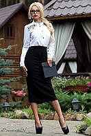 Классическая черная юбка длины миди ниже колена 44-52 размеры, фото 1