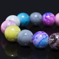 Бусины Стеклянные Окрашенные непрозрачные, Имитация природных камней, Круглые, Цвет: Разноцветный, Диаметр: 10мм, Отверстие 1мм, около 43шт/нить,
