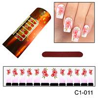 Цветок красный фото-дизайны ногтей