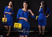 Синее платье со стразами