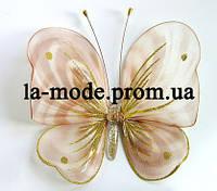 Бабочка для гардин и штор большая 17*17 см бежевая полосатая