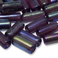 Бусины стеклянные прессованные, блестящие радужные Crystal Art, цилиндр, Цвет: Фиолетовый, Размер: 10х4мм, Отверстие 1мм, Фасовка: 50г, около