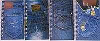 """Блокнот A6 50K-71 на спирале """"Джинс"""" 70 листов обложка ПВХ уп12"""