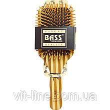 Bass Brushes, Большая прямоугольная щетка для волос с деревянной щетиной и бамбуковой ручкой