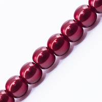 Жемчуг Бусины Стекло 4мм, Глянец, окрашены экокраской, на нити из смесового хлопка, Круглые, Цвет: Красный, Диаметр: 4мм, Отв. 1мм, около 100шт/нить,