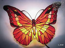 Декоративный светильник на стену для спальни из кусочков цветного стекла бабочка