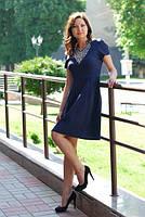 Очень женственное синее платье с вышивкой