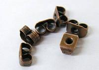Заглушки Металлические, Цвет: Медь, Размер: 5х3.5мм, Отверстие 0.8~1мм (УТ000007642)
