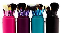 Кисточки кисти для макияжа 12 штук в тубусе черные, фиолетовые, голубые, коралловые, бирюзовые, розовые