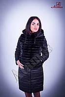 Меховая куртка-трансформер из норки в комбинации с плащевкой черная DW006-1