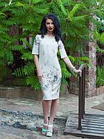 Нежное белое платье с очень красивой окантовкой из цветов, размер: 46