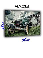 Картина с часами на холсте 58 х 38 Автомобиль