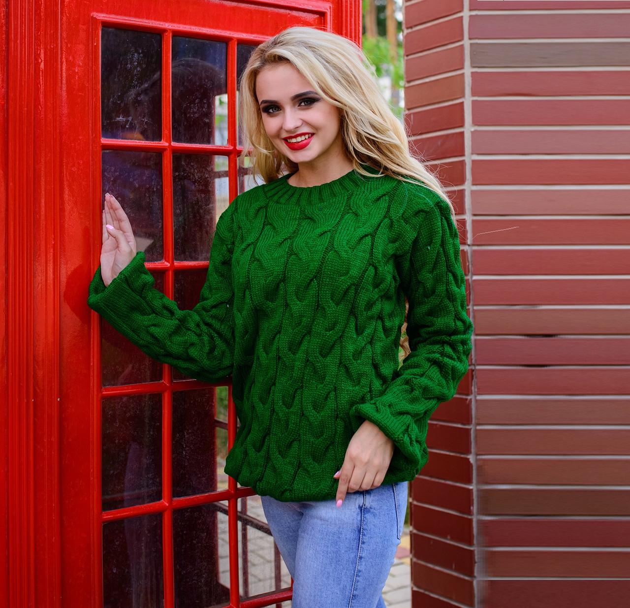 Акриловый женский свитер М  776907  Зеленый