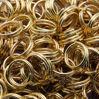 Колечка Подвійні, Залізні, Колір: Золото, Розмір: 7мм, Товщина: 0.7 мм, 50г/близько 380шт, (УТ0002992)