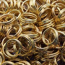 Колечки Двойные, Железные, Цвет: Золото, Размер: 7мм, Толщина 0.7мм, 50г/около 380шт, (УТ0002992)