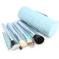 Кисточки кисти для макияжа 12 штук в тубусе черные, фиолетовые, голубые, коралловые, реплика, фото 3
