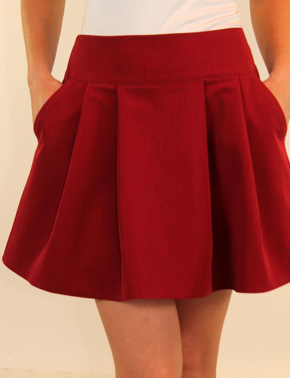 Школьная юбка на кокетке со складками 42-44-46 р ( синий, бордовый, зеленый )