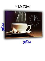 Картина с часами на холсте 58 х 38 Ароматный напиток