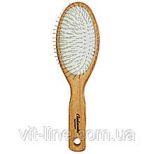 Гребінець для волосся Ambassador, овальна, дерев'яна, з металевими зубчиками, 1 штука,Fuchs Brushes