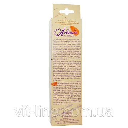 Расческа для волос Ambassador, овальная, деревянная, со стальными зубчиками, 1 штука,Fuchs Brushes, фото 2