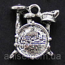 Кулон Барабан, Металл, Цвет: Античное Серебро, Размер: 16х14.5х5мм, Отверстие 2мм, (УТ000006617)