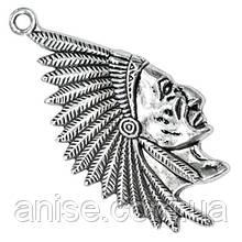 Кулон Индеец, Металл, Цвет: Античное Серебро, Размер: 55х27х7мм, Отверстие 3мм, (БА000001660)