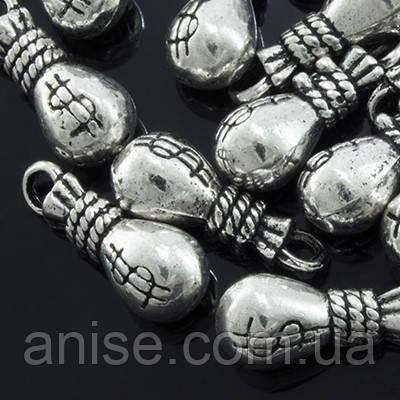 Кулон Мішечок з Грошима, Метал, Колір: Античне Срібло, Розмір: 15х6х6мм, Отвір 2мм, (УТ0002170)