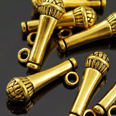 Кулон Микрофон, Металл, Цвет: Античное Золото, Размер: 10х7х7мм, Отверстие 2мм, (УТ000005665)