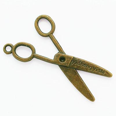 Кулон Ножиці, Метал, Колір: Бронза, Розмір: 40х23х2мм, Отвір 2мм, (УТ000006272)
