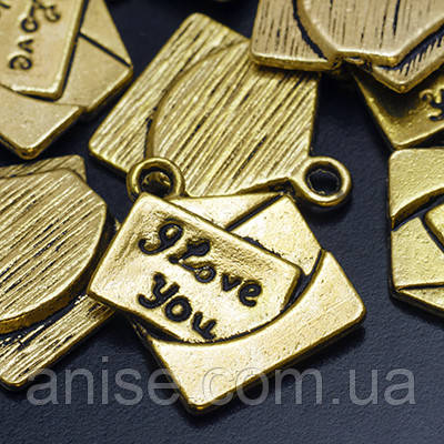 Кулон Открытка, Металл, Цвет: Античное Золото, Размер: 18.5х16х2мм, Отверстие 2мм, (УТ0019110)
