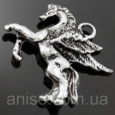 Кулон Пегас, Метал, Колір: Античне Срібло, Розмір: 19х19х3мм, Отвір 2мм, (БА000001312)