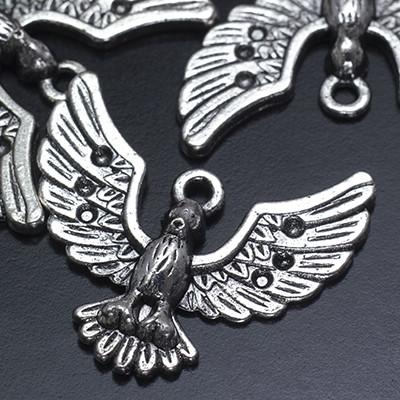 Кулон Птица, Металл, Цвет: Античное Серебро, Размер: 25х28х5мм, Отверстие 2.5мм, Пригоден под Стразы 1мм. (УТ0019189)