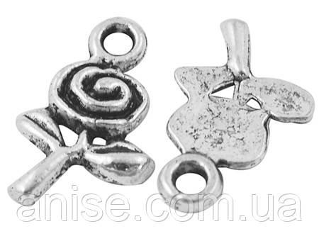 Кулон Роза, Металл, Цвет: Античное Серебро, Размер: 15.5х9.5х2мм, Отверстие 2мм, (УТ000000474)