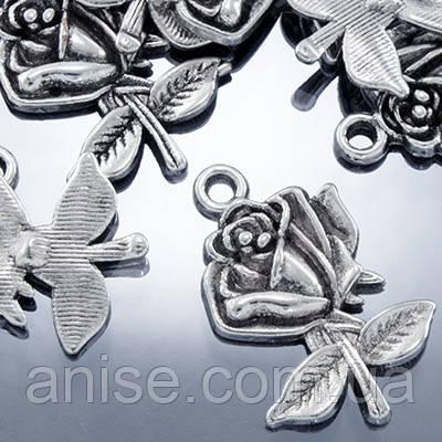 Кулон Троянда, Метал, Колір: Античне Срібло, Розмір: 25.5х17.5х3мм, Отвір 1.5 мм, (УТ000000492)