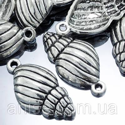Кулон Черепашка, Метал, Колір: Античне Срібло, Розмір: 24х12х5мм, Отвір 2мм, (УТ0002292)