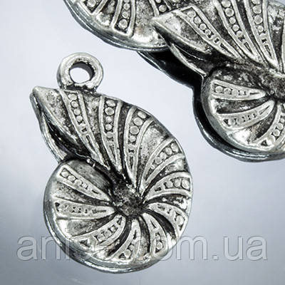 Кулон Ракушка, Металл, Цвет: Античное Серебро, Размер: 25х17х3мм, Отверстие 2мм, (УТ0002293)