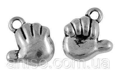 Кулон Рука, Металл, Цвет: Античное Серебро, Размер: 13х11х4.5мм, Отверстие 2мм, (УТ000006317)