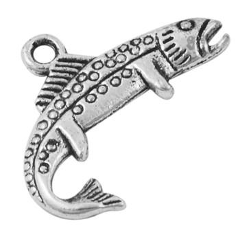 Кулон Рыба, Металл, Цвет: Античное Серебро, Размер: 25х16.5х3мм, Отверстие 2мм, (УТ000000652)