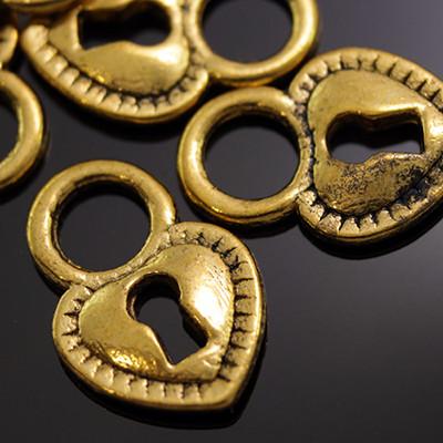 Кулон Сердце, Металл, Цвет: Античное Золото, Размер: 17х12х2мм, Отверстие 5мм, (УТ000007369)