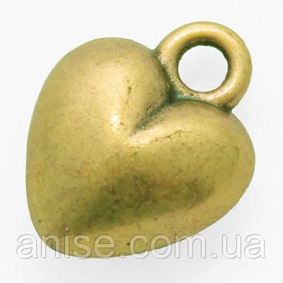 Кулон Сердце, Металл, Цвет: Бронза, Размер: 13х10х5мм, Отверстие 1.5мм, (УТ000006353)