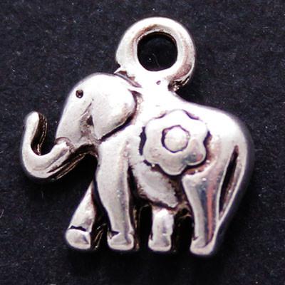 Кулон Слон, Металл, Цвет: Античное Серебро, Размер: 12х11х3мм, Отверстие 2мм, (УТ000006318)