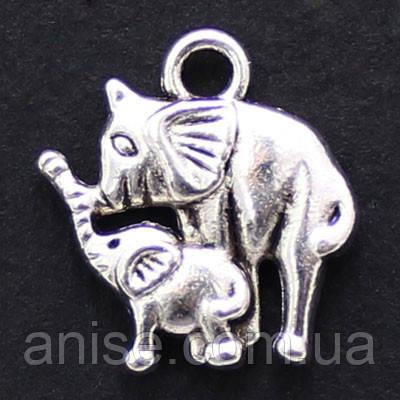 Кулон Слон, Металл, Цвет: Античное Серебро, Размер: 16х15х2.5мм, Отверстие 2мм, (УТ000006451)